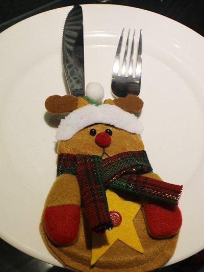 Merry Christmas Deer Shape Tableware Cover Bag - Yellow