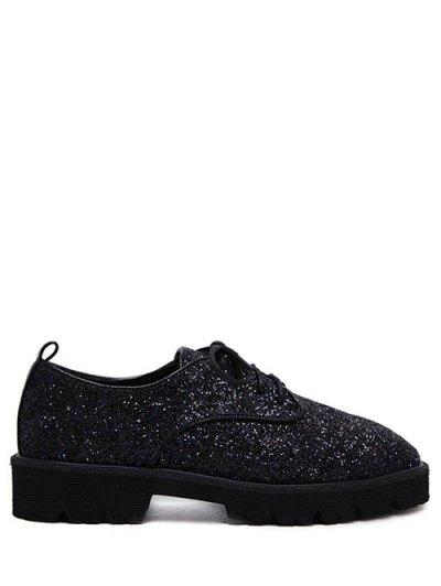 Lace Up Sequins Platform Shoes - BLACK 37 Mobile