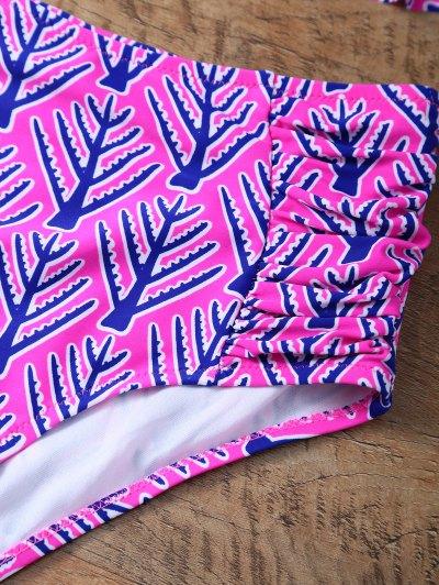 Printed High Rise Balcony Bikini - PINK L Mobile