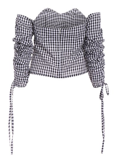 Off The Shoulder Checked Blouse - BLACK L Mobile