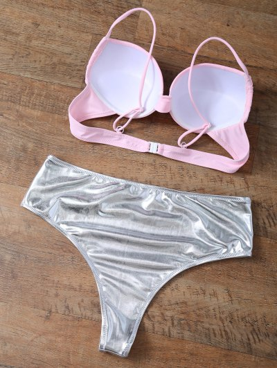 Underwire Bikini Top and Metallic Bottoms - PINK + SILVER S Mobile