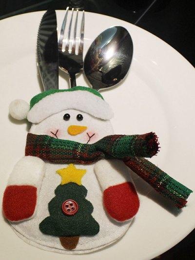 Christmas Snowman Tableware Cover Bag - White