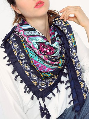 Geometry Pattern Tassel Scarf - Cadetblue