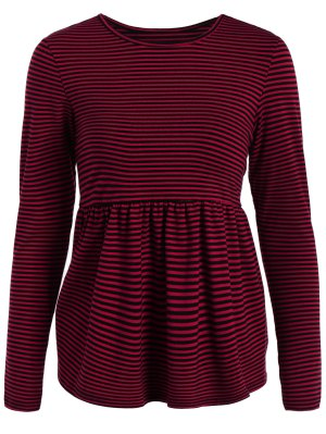 Striped Long Sleeve Smock T-Shirt - Red