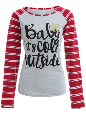 Striped Raglan Sleeve Christmas Tee - Gray And Red
