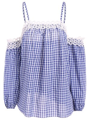 Gingham Check Cold Shoulder Blouse - Blue And White