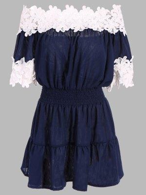 Contrast Lace Off The Shoulder Dress - Purplish Blue