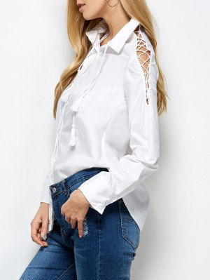 Strappy Sleeve Shirt - White