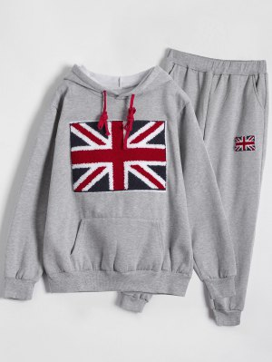 Printed Sports Hoodie And Gym Pencil Pants - Gray