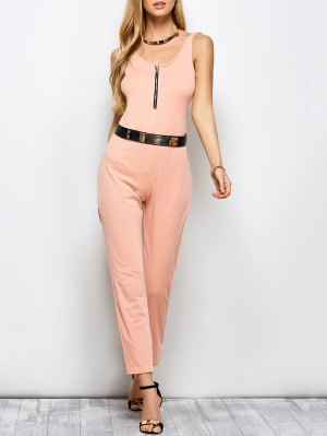 Half Zip Straight Jumpsuit - Pink