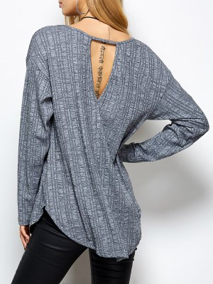 V Neck Cut Out Loose T-Shirt - Gray