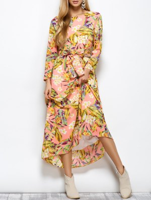 Long Sleeve Floral Print Belted Maxi Dress - Floral