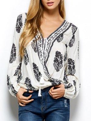 Retro Impresión Del Abrigo De La Camiseta - Blanco