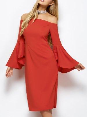 Off The Shoulder Slit Pencil Dress - Red