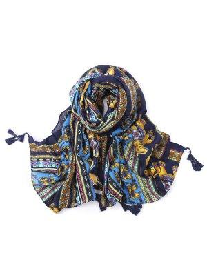 Elephant Pattern Tassel Scarf
