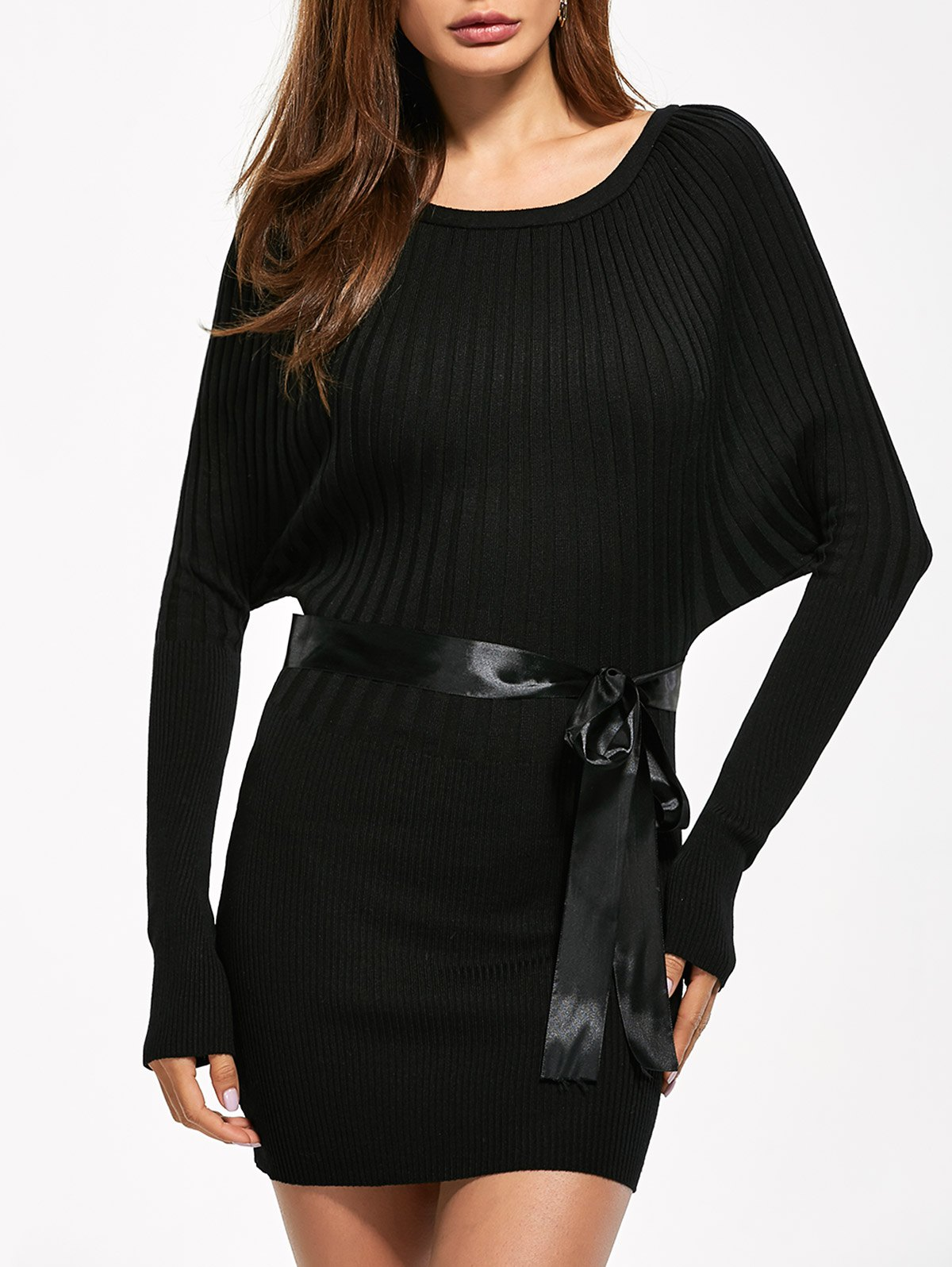 Long Sleeve Bodycon Ribbed Sweater Dress 203408101