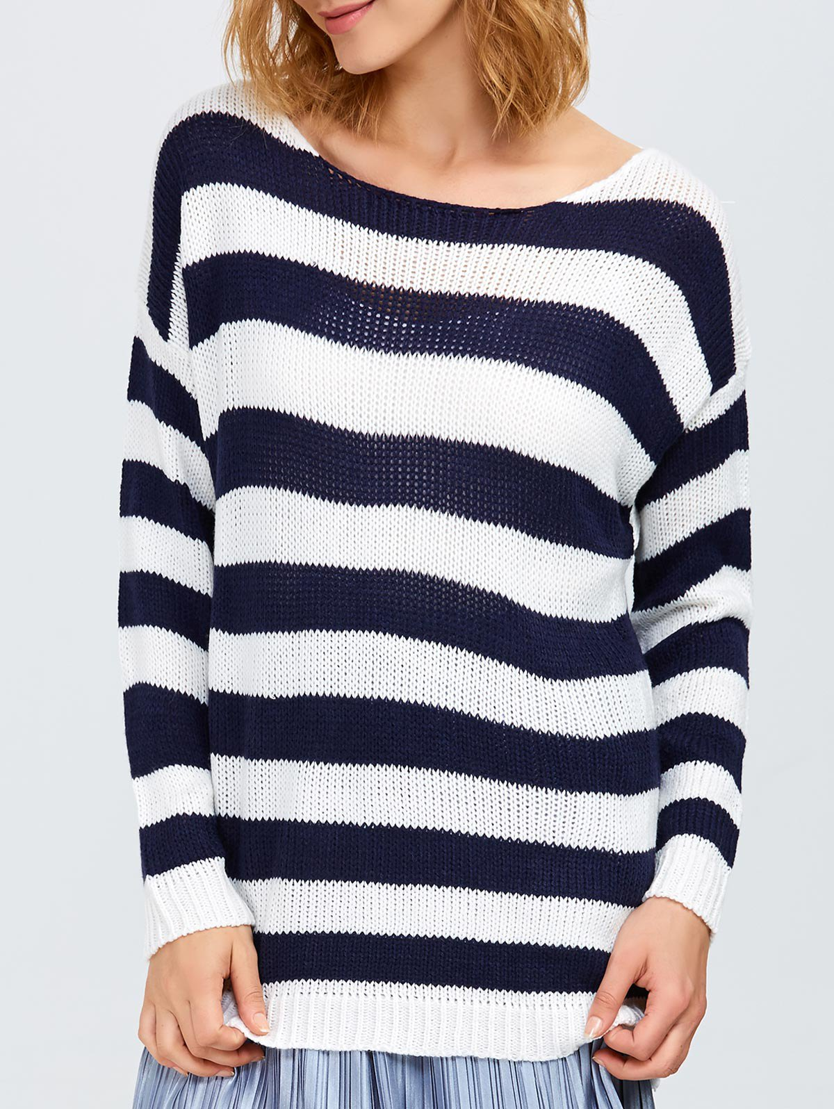 Round Neck Striped Tunic Sweater