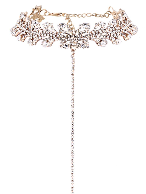 Rhinestoned Leaves Necklace
