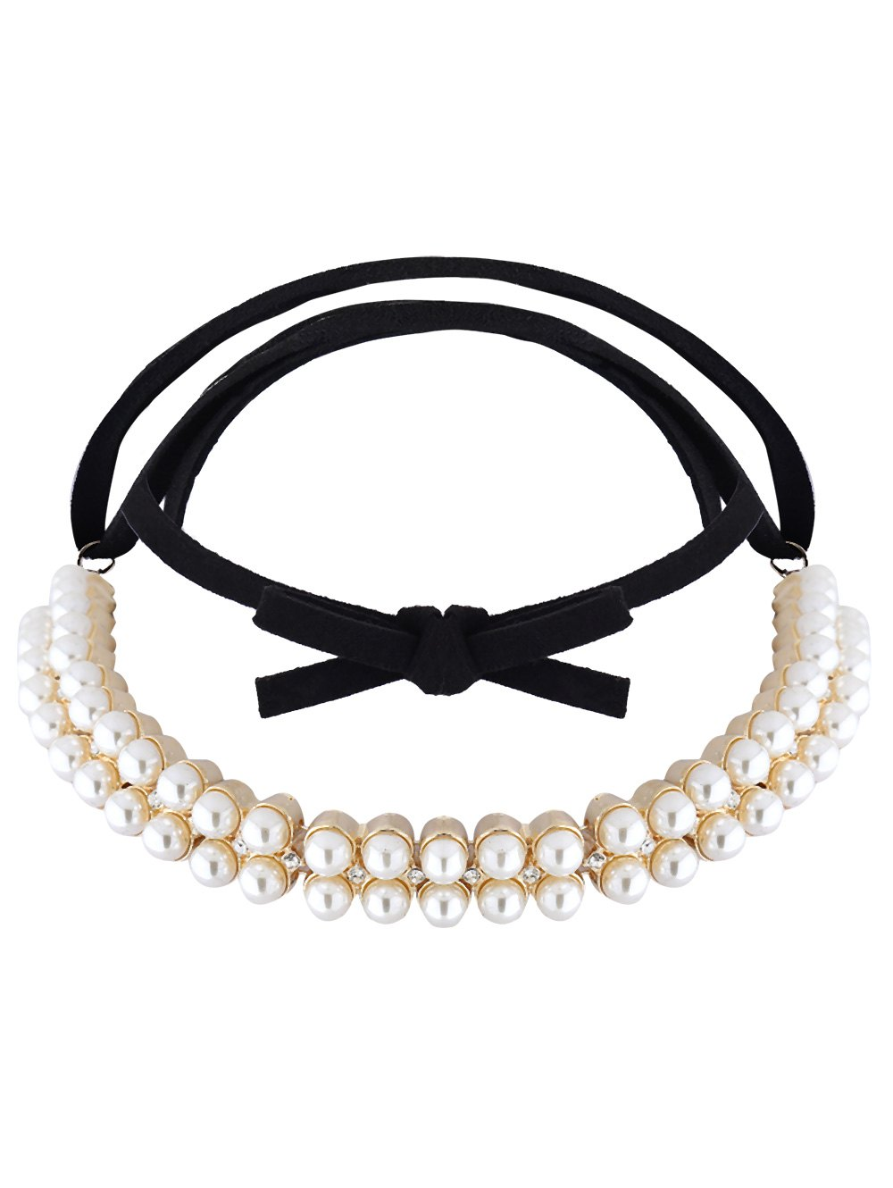 Artificial Pearl Rhinestone Velvet Choker Necklace