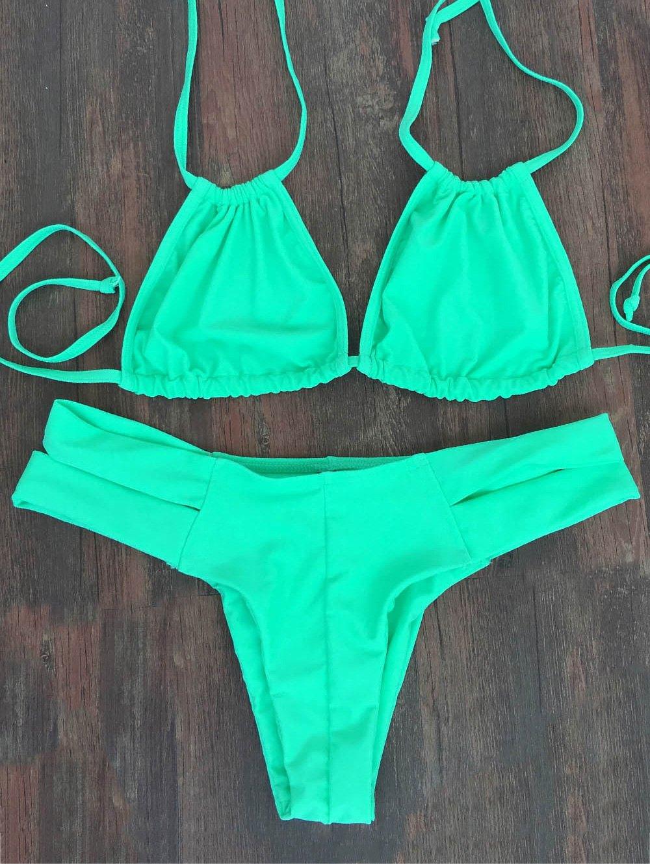 Lace-Up Green Bikini Set