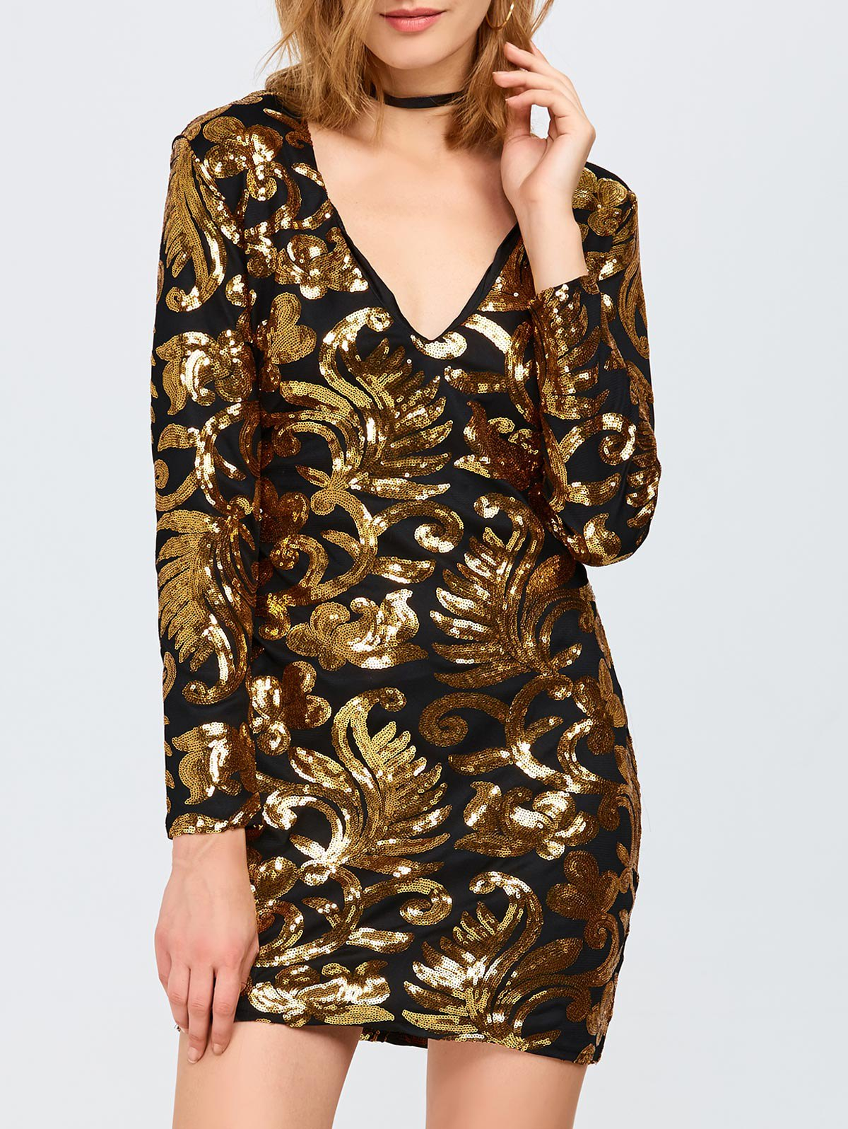 V Neck Sequins Bodycon Mini Dress