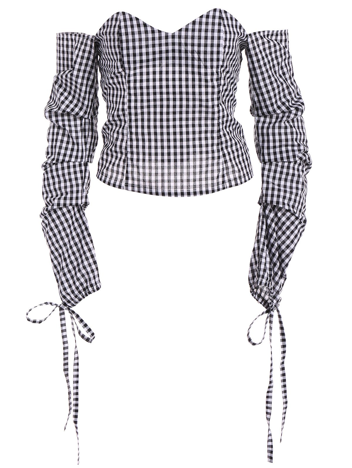 Checked Off The Shoulder Blouse
