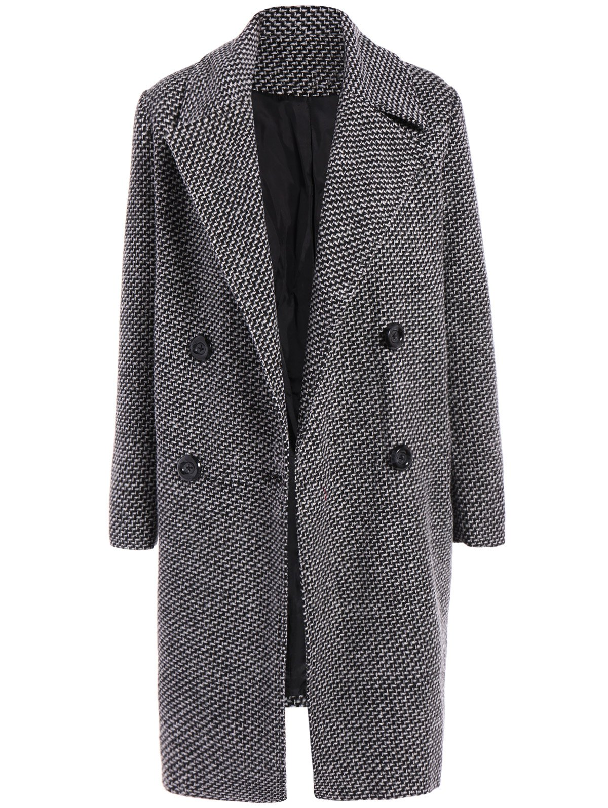 Checked Buttons Wool Coat