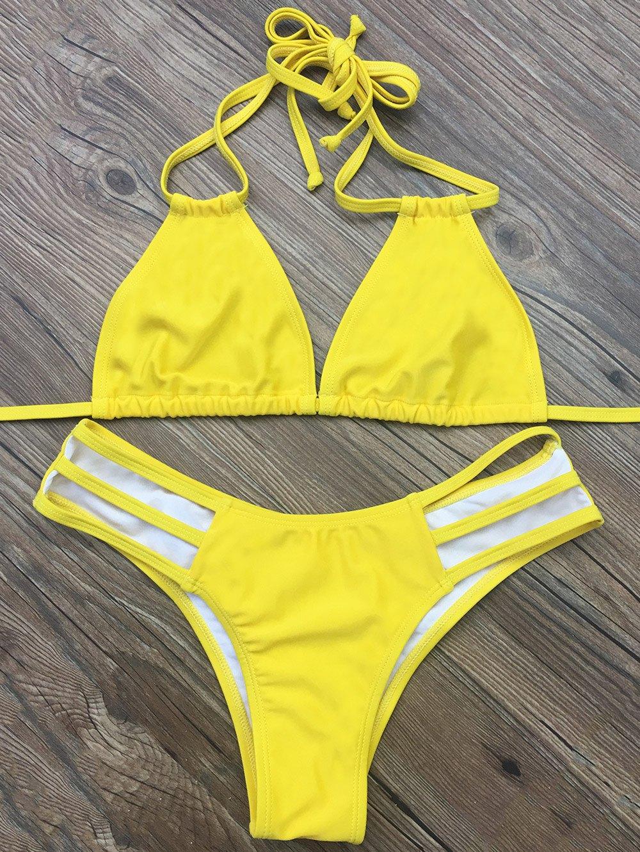 Strappy Halter Plunge Bikini