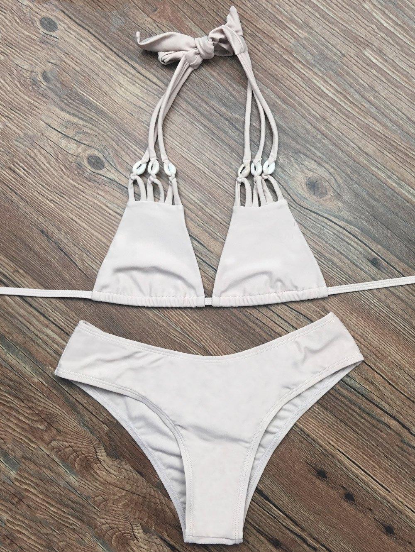 Strappy Halter Plunge Bikini Set