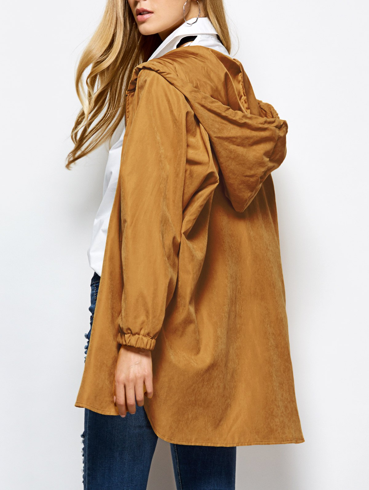 Hooded Zippered Loose Coat