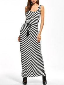 Striped Racerback Maxi Tank Dress