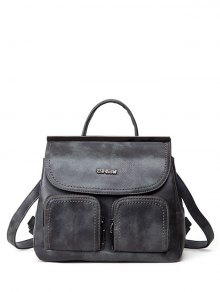 Stitching Pockets Metal Trimmed Backpack - Gray