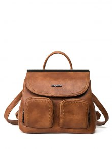 Stitching Pockets Metal Trimmed Backpack - Brown