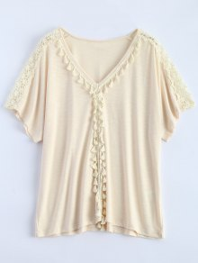 Tassel V Neck Crochet Panel T-Shirt - Off-white M