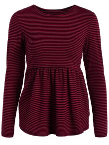 Striped Long Sleeve Smock T-Shirt