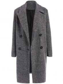 Fitting Checked Wool Coat - Black