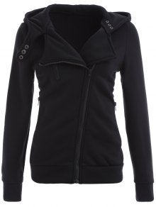 Zip Through Hoodie - Black S