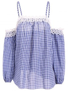 Gingham Check Cold Shoulder Blouse