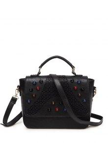 Buy Colored Rivet Cut Handbag BLACK