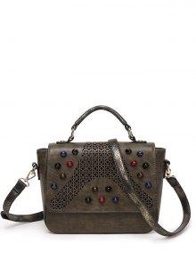 Buy Colored Rivet Cut Handbag KHAKI