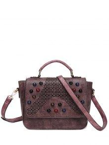 Buy Colored Rivet Cut Handbag DARK RED