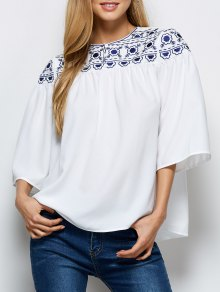 Retro Embroidery Jewel Neck Swing Blouse