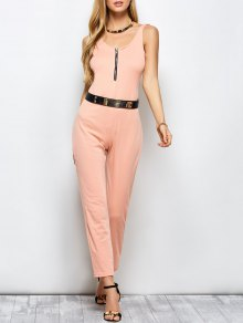 Half Zip Straight Jumpsuit - Pink L