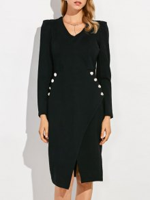 V Neck Long Sleeve Front Furcal Work Dress