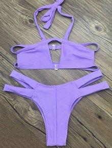 Side Strap Cut Out Halter Bikini - Purple