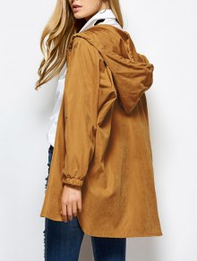 Hooded Zippered Coat - Camel