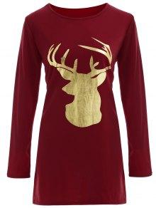 Vestido Camiseta Navidad Reno - Burdeos
