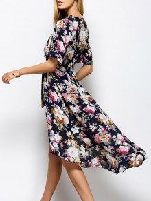Front Slit Floral Maxi Surplice Dress - Floral