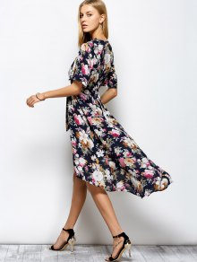 Front Slit Floral Maxi Surplice Dress - FLORAL M