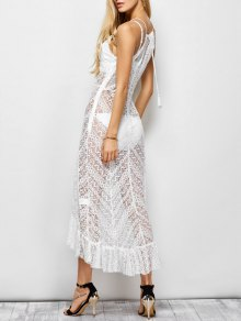 Ruffles See Through Maxi Cami Dress